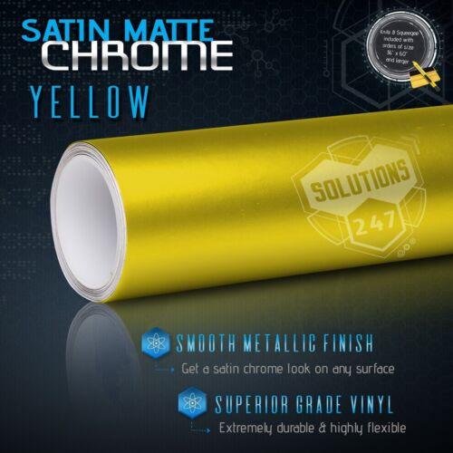 """Yellow Satin Matte Chrome Metallic Vinyl Film Wrap Sticker Air Free 36/"""" x 60/"""" In"""