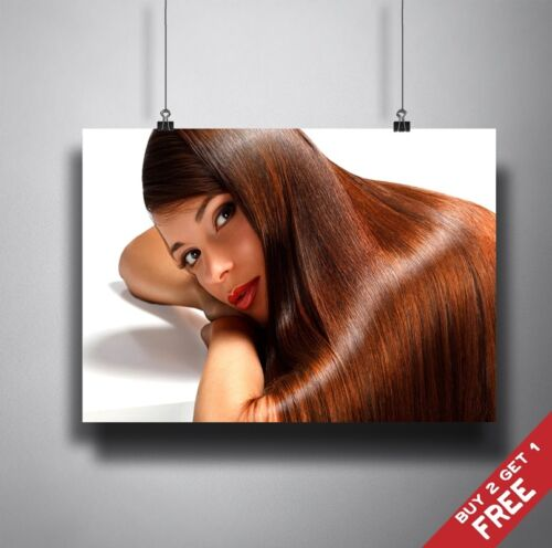 BROWN SHINY HAIR POSTER A3 A4  RED LIPS BEAUTY SALON HAIRSTYLE DISPLAY ART PRINT