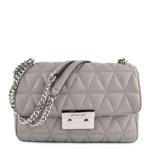Details about Michael Kors Sloan Pearl Grey Large Quilted Shoulder Bag