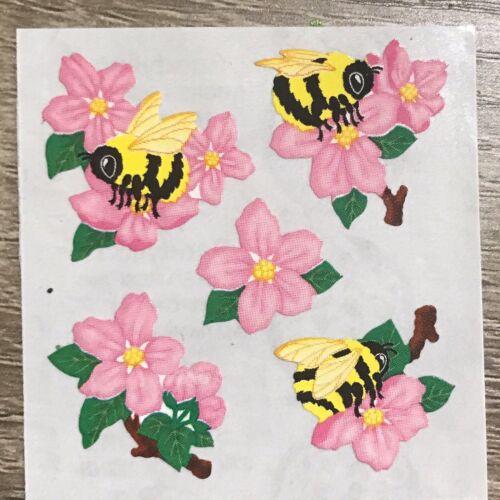 Vintage Sandylion Bee Stickers BEES And Pink FLOWERS