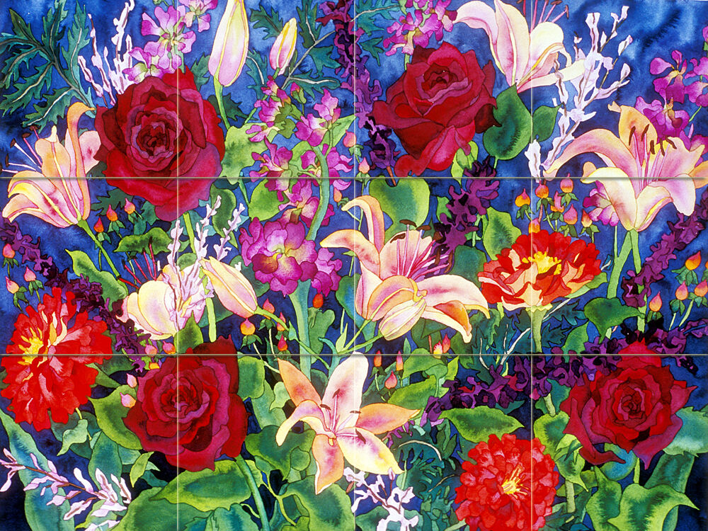 Contemporary Vivid Art Williams Flowers Mural Ceramic Kitchen Bath Tile  2451