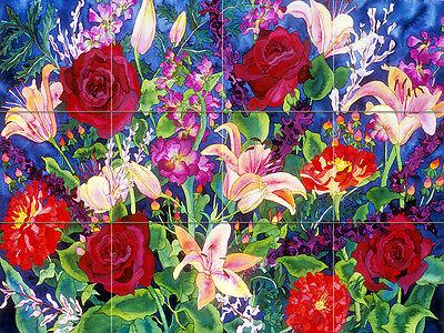 Contemporary Art Williams Flowers Mural Ceramic Backsplash Bath Tile #2451