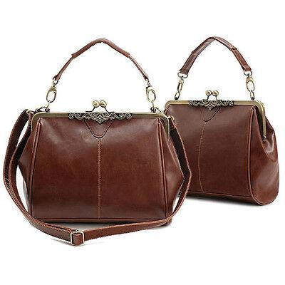 Celebrity Retro Vintage Lady PU leather shoulder handbag Satchel Tote bag purse