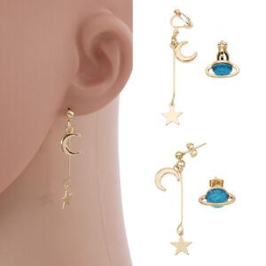 Women Blue Planet Earrings Gold Moon Star Drop Dangle Alloy Lovely ... 449275726
