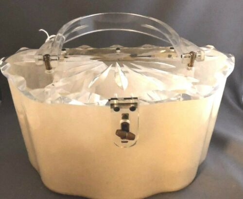 Vintage Lucite Cream Handbag Purse w/Clear Carved