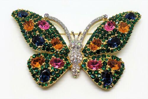 Huge Vintage Colorful Rhinestone Butterfly Brooch