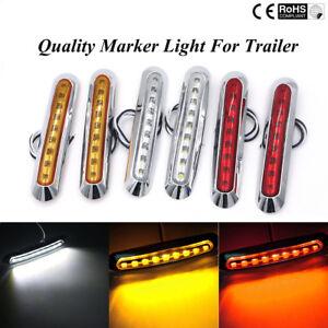 Waterproof-9-LED-Chrome-Front-Side-Marker-Indicator-Lights-Truck-Trailer-Van-12V