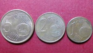 Mixed-LOT-of-3-EURO-COINS-Fine-Circulated-5-2-and-1-CENTS-Coin-Lot-6