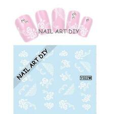 20 Nail Art Stickers Water Transfer- Adesivi Per Unghie-Fiori Con Pizzo Bianco !