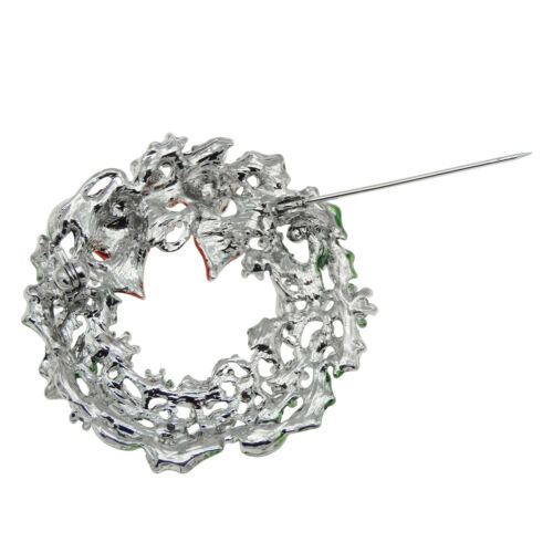 44x43mm Alloy Christmas Garland Wreath Crystal Brooch Pin Xmas Party Jewelry