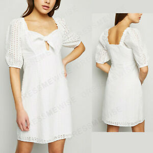 New-Look-Womens-Broderie-Tie-Front-Cotton-Mini-Summer-Holiday-Dress-in-White