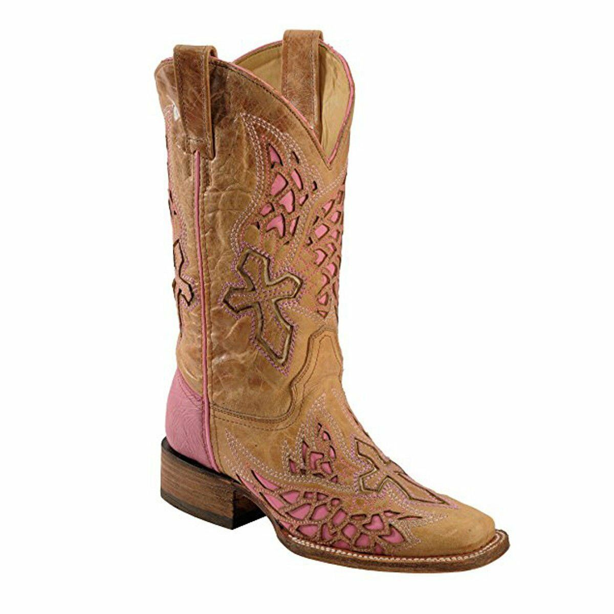 Corral Women's Side Wing And Cross Fashion Square Toe Boots A2645