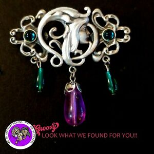 034-JJ-034-Jonette-Jewelry-Silver-Pewter-039-Fairy-Flowers-stones-purple-039-Pin-Brooch