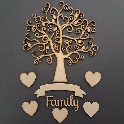 Family Tree Craft Kit Set Script Family Banner Craft wooden MDF Shapes Hearts