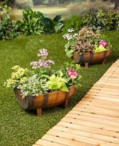 Set-of-2-Half-Barrel-Planters-Wood-Look-Indoor-Outdoor-Rustic-Garden-Yard-Decor