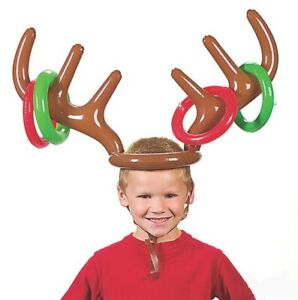 Inflatable Reindeer Christmas Hat Antler Ring Toss  Party Game Xmas Toy Props UK