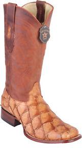 72a69aaac40 Details about Los Altos MATTE COGNAC Genuine Pirarucu Fish Western Cowboy  Boot Square Toe D