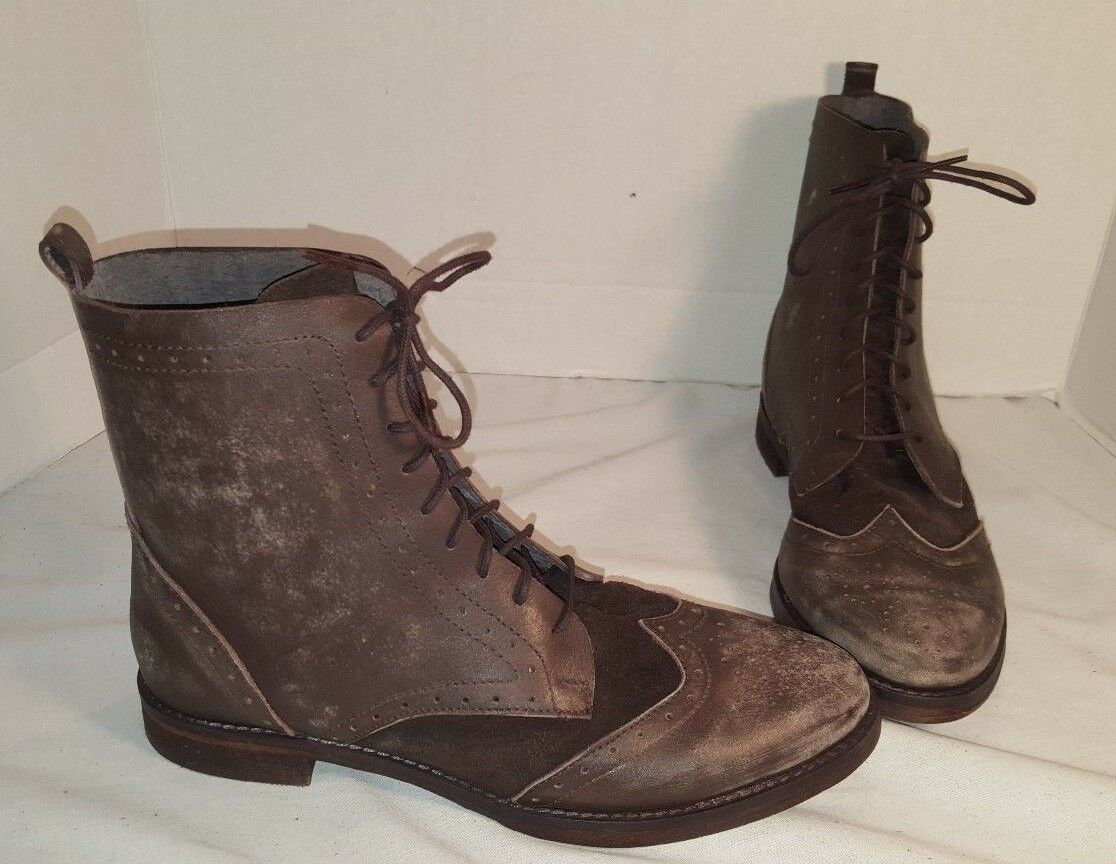 ANTHROPOLOGIE FREE PEOPLE WOMEN'S LEATHER BADLANDS BROWN LEATHER WOMEN'S BOOTS US 9 e28069