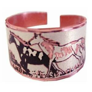 Solid-Copper-Ring-Paint-Horse-Silver-Handmade-Western-Jewelry-Adjustable-Size