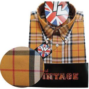 Warrior-Short-Sleeve-Button-Down-Shirt-LYDON-Mod-Skinhead-Yellow-Red-Black-White