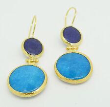 Ottomangems semi precious stone gold plated earrings agate jade  handmade
