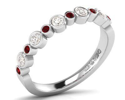 New 0.30carat Ruby Half Eternity Wedding Ring in White /& Yellow Gold,Hallmarked
