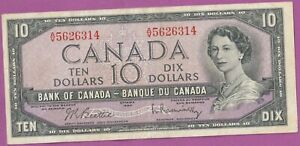 1954-Canada-10-Dollars-Beattie-Raminsky-VERY-Lightly-Circulated