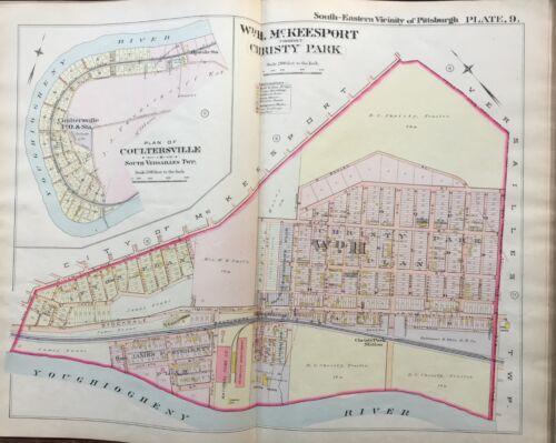 1900 McKEESPORT PITTSBURGH PENNSYLVANIA CHRISTY PARK /& COULTERSVILLE ATLAS MAP