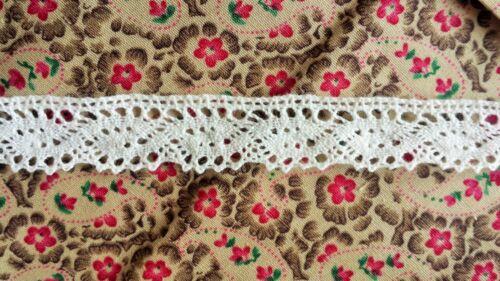 3 M Estilo Vintage Algodón ajuste del borde de encaje de ganchillo Cinta de Costura Boda Blanco