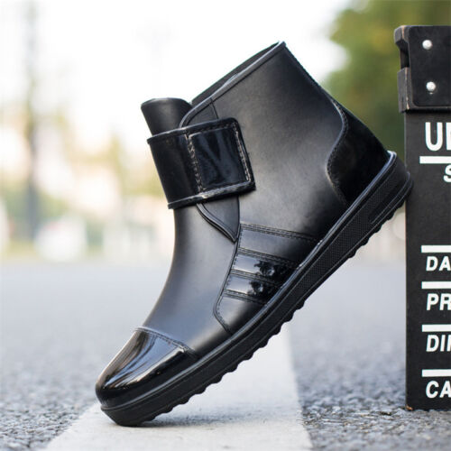 Fashion Mens Rain Boots Waterproof Work Martin Ankle Slip-Resistant Safety Shoes
