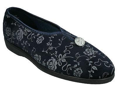 Tender Tootsies Damen marineblau Blumenmuster ohne Bügel weich Textil Hausschuhe