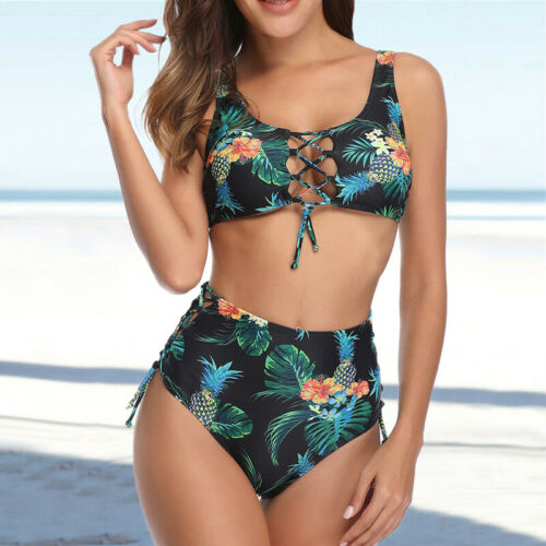 Two Piece Womens Floral Bikini Set Crop Tops High Waisted Swimwears Swimsuit L