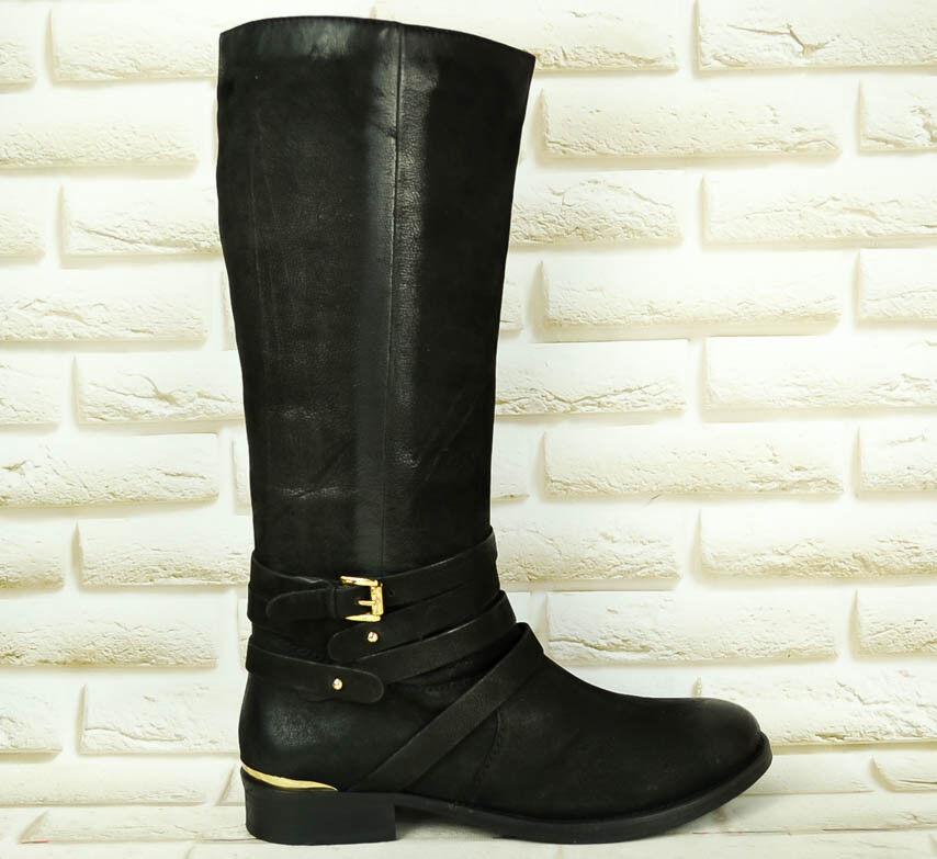 SPM Negro Cuero Para mujeres Botas Mitad de la Pantorrilla Cremallera Tacón Alto Informal Zapatos