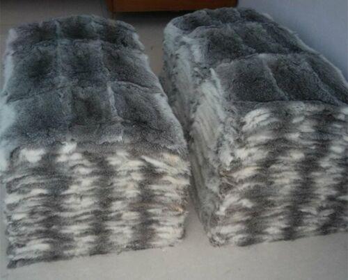 "Real Rabbit Fur Blanket 43x22/""Gray Rabbit Fur Plates For garments Pelt Throw"