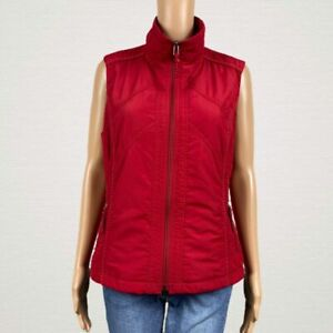 Coldwater Creek Bright Red Zip Front Quilted Vest Jacket Medium 10 /12 Polyester