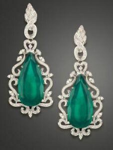 Solid-925-Sterling-Silver-Green-Long-Pear-Design-Dangle-Earrings-Women-Gift