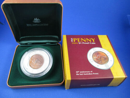 2004 $1 1964 PENNY 40TH ANNIVERSARY OF THE LAST AUSTRALIAN PENNY PROOF COIN