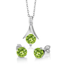 "3.00 Ct Round Green Peridot Sterling Silver Pendant and Earrings Set 18"" Chain"