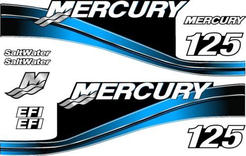 BLUE MERCURY 2005-125 MOTOR PRINTED STICKERS KIT ENGINE