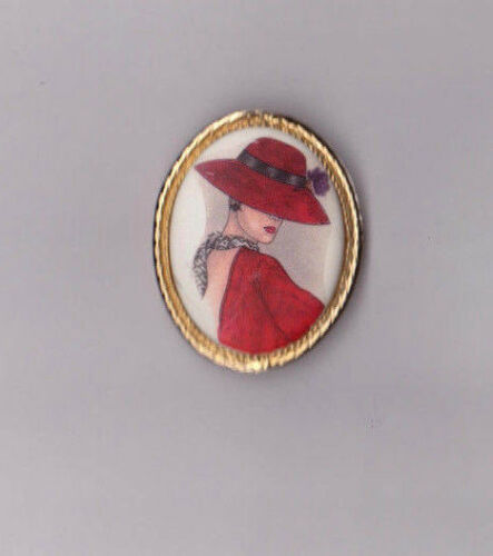 Beautiful Red Hat Society Club Genuine Porcelain Brooch Fashion Pin MADE IN USA