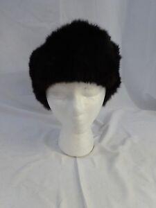 ac5525cdeceb3 Vtg Brown RABBIT Fur Russian TRAPPER Ushanka WINTER Hat Sz XS 18