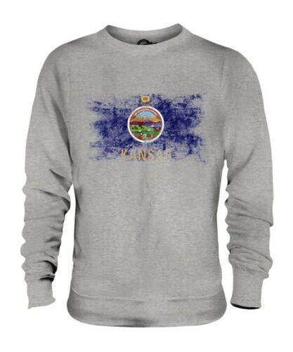 Kansas État Drapeau Délavé Unisexe Pull Kansan T-Shirt Jersey Cadeau