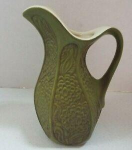 """Vintage McCoy Pottery 618 USA Olive Green Vase Pitcher Floral Design 9"""""""
