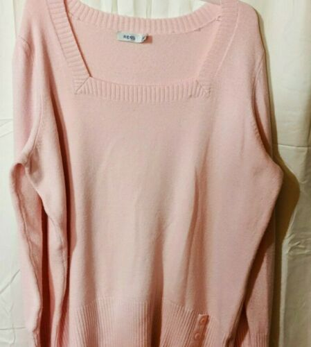Soft Pink Pullover Sweater Square Neckline and But