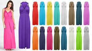 Ladies-Women-Plain-Viscose-Spring-Coil-Sleeveless-Maxi-Dress-one-size-UK-8-14