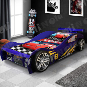Blue Rear Spoiler Edition Kids Sports Racing Car Bed For ...