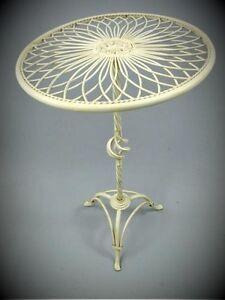 Table Ronde Blanc Antique Fer Forgé pour Maison + Balcon Jardin ...