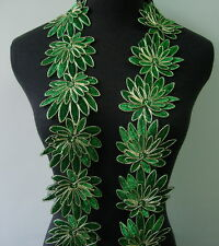 """TL136 3 2/8"""" Shiny Green 3D Leaf Metallic Corded Lace Edging Sewing/Bridal 1Y"""