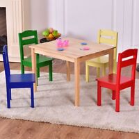 Kids 5pcs Wooden Table And Chair Set Fun Children Learning Activity Furniture Us