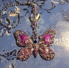 Butterfly Pink Rhinestone Ceiling Fan Pull~Hook on Chain Fan/Lamp/Auto Mirror~